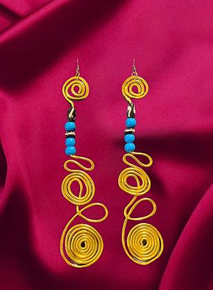 Blue Golden Dazzling Stylish Wire Earrings