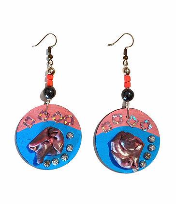 Cotton Candy Boho Art Dangle Wood Earrings