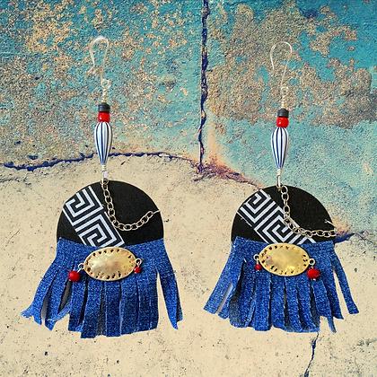 Midnight Denim Statement Style Fashion Earrings