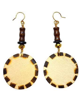 Brown Smoked Wood Beaded Dangle Earrings