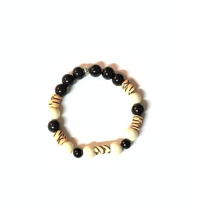 Black cream colada mixed wave polymer fashion bracelet