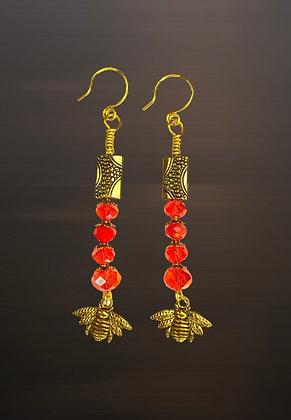 Glass Beaded Bumble Bee Dangle Earrings