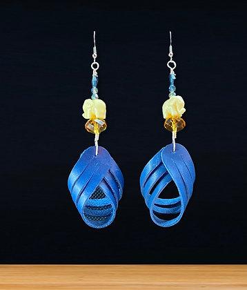 Crisscross Butter Blue Leather Elephant Earrings