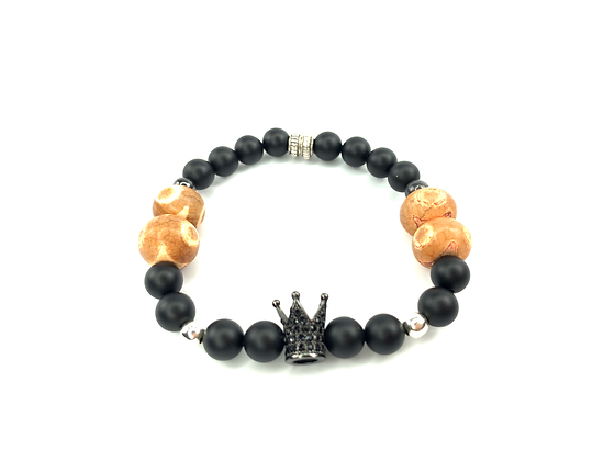 Genuine agate gemstone beads wth natural onyx black beads and crown center