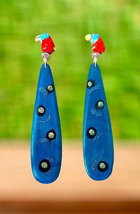 Dazzling Parrot Full Colored Turquoise Earring