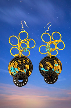Zingy Golden And Turquoise Wired Earrings