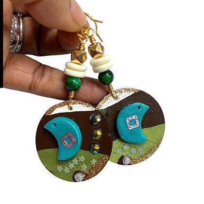 Moon Magic Polymer Charm Boho Jeweled Earrings