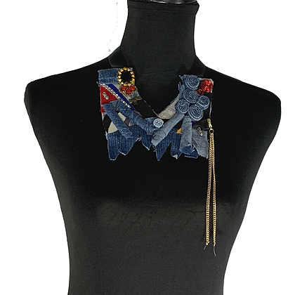 Tulip turned denim roll chained chic stylish necklace