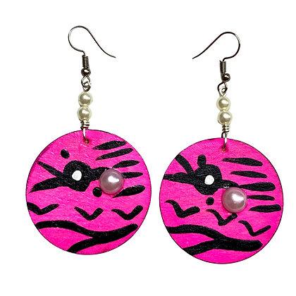 Savage Hot Pink and Pearl  Dangle Earrings