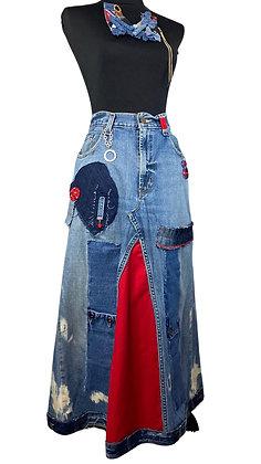 Cherry Apple Boho Denim Skirt