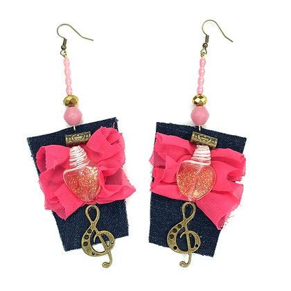 Bubble Pink Bazooka Denim Earrings