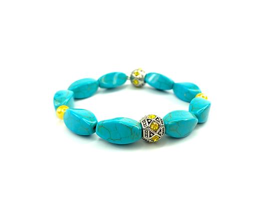 Change my world boho turquoise yellow rhinestone bracelet