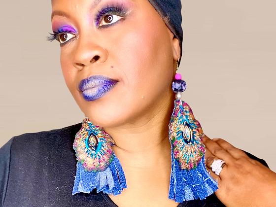 Sequence Denim  Fringe Bottom Fashion Style Earrings