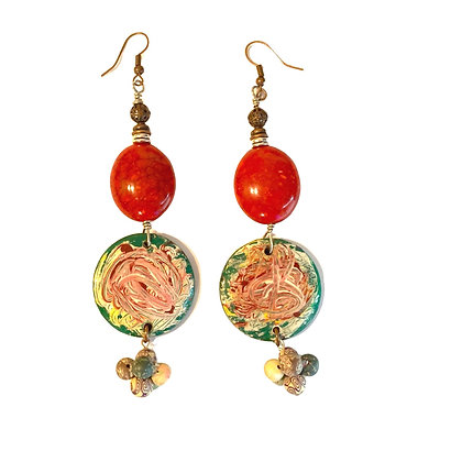 Master Mixed Red Salad Earring