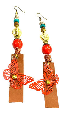 Nectarine Butterfly Leather Earrings