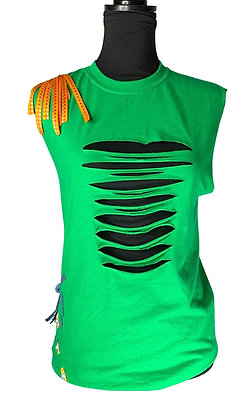 Blitz Green Flare Distressed Tee