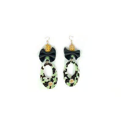 Get dress bow town oval shabby fashionable style earrings
