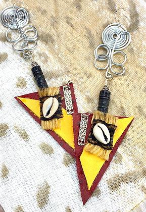 Double Shadow Lady Leather Earrings