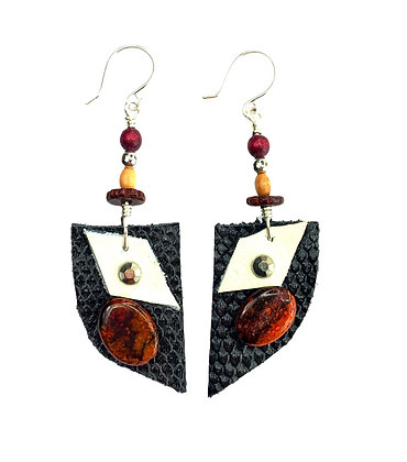 Black Dome Leather Earrings