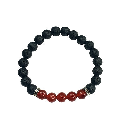 Cranberry And Nlack Lava bead Bracelet