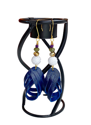 True Blue Cross Over Leather Earrings