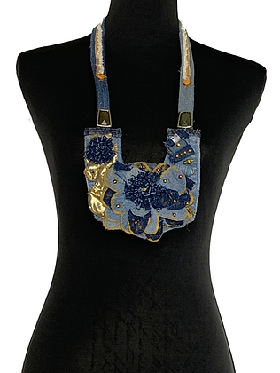 Golden denim dressy flower denim necklace