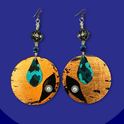 Copper Black and Turquoise Drop Earrings
