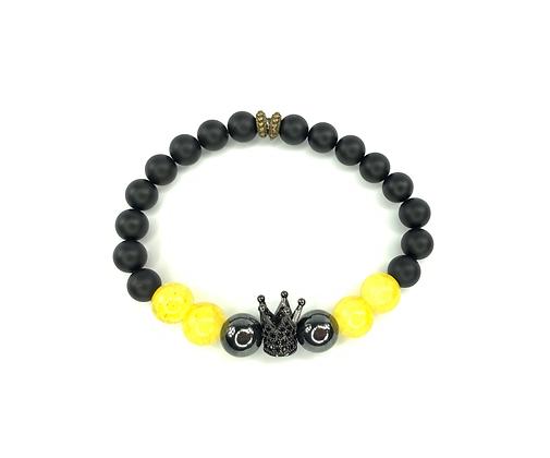 Bumble boho natural black onyx crowded  beaded bracelet