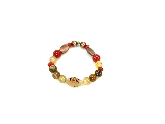 Bronze  mixed browns and burgundy craze bracelet