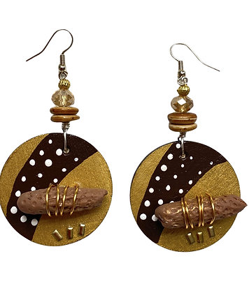 Natural Chocolate And  Speckled Cool Wood Earrings