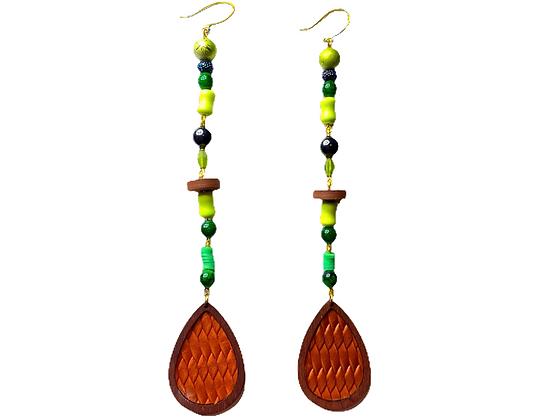 Drop Shoulder Green Beaded Fashion Style Earrings