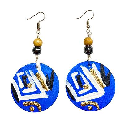 Tranquil Blue Tribal Vibe Wood Dangle Earrings