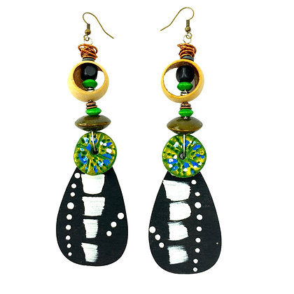 Tribal Lean Green Wooden Earrings