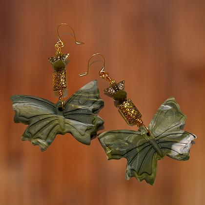 Polymer Clay Green Golden  Butterfly Fashion Dangle Earrings