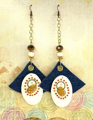 Always Jeweled Denim Earrings
