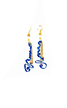 Out the box boho style blue wire curved abstract earrings