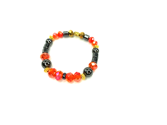 Jam on jam on classy bright glass and gold accent  bracelet