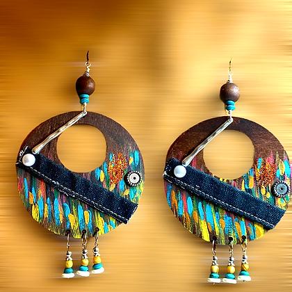 Charming Colorful Wooden Denim Cross Earrings