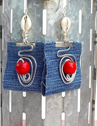 Cherry Denim Wire Roundup Earrings
