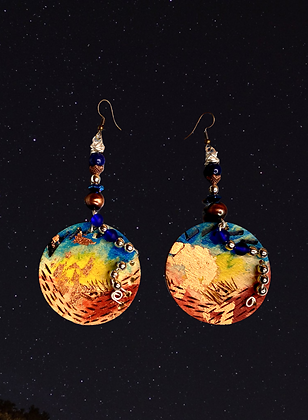 Hand Painted Copper Silver Wood Beaded Earrings