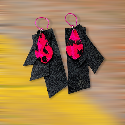 Three Layered Leather Hot Pink Tear Drop Fashion Style Earrings