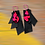 Thumbnail: Three Layered Leather Hot Pink Tear Drop Fashion Style Earrings