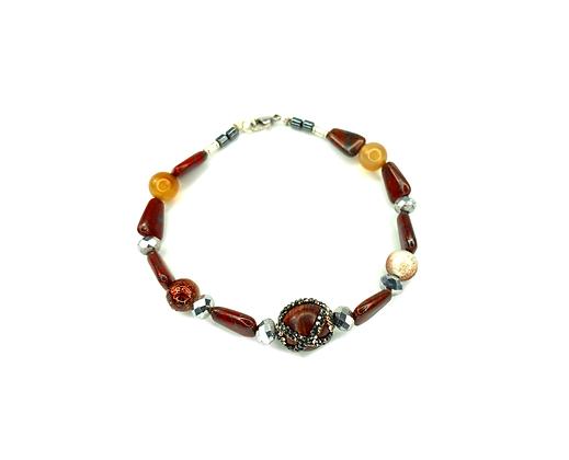 Gemstone and rhinestone heaven clasp bracelet