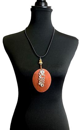 Bronze Wood Swirl Oval Necklace