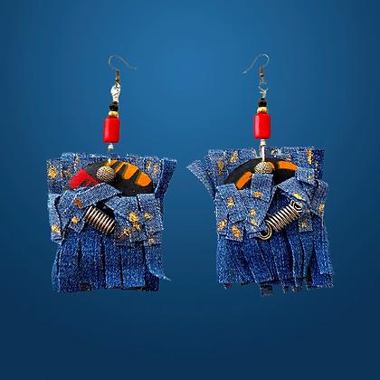 Boho Denim Fashion Fire Fringe Earrings