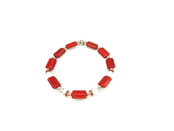 Red and white cane boho trending slip on bracelet