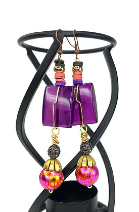 Purple Passion Wired Jeweled Earrings