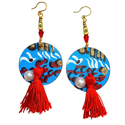 Fringed Red Popping Abstract Dangle Wood Earrings