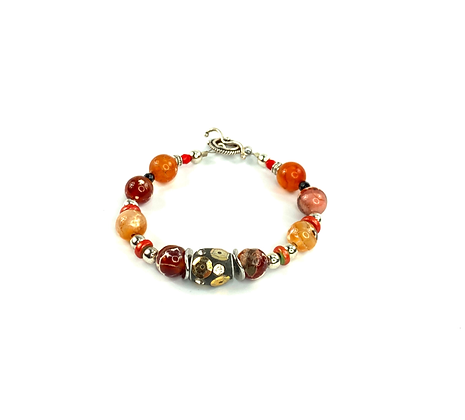 Genuine Agate stone with funky center bead bracelet