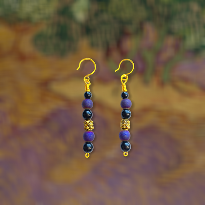Purple Golden Queen Earrings